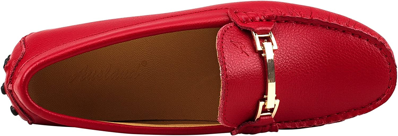 Shenduo Zapatos de cuero Mocasines c/ómodos con cordones de moda para mujer D7067