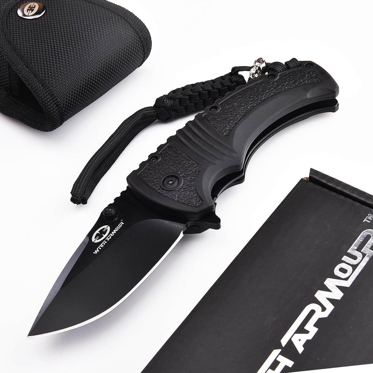WITHARMOUR Spring Assisted Pocket Folding Knife Black B for Men with 440C Steel Blade and PP+TPR Handle with Color Box for Tactical Outdoor Survival Camping Hiking and Self Defense 4.75-inch closed
