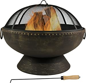Sunnydaze Outdoor Fire Pit Bowl - 30 Inch Large Round Wood Burning Patio & Backyard Firepit for Outside with Spark Screen, Fireplace Poker, and Metal Grate