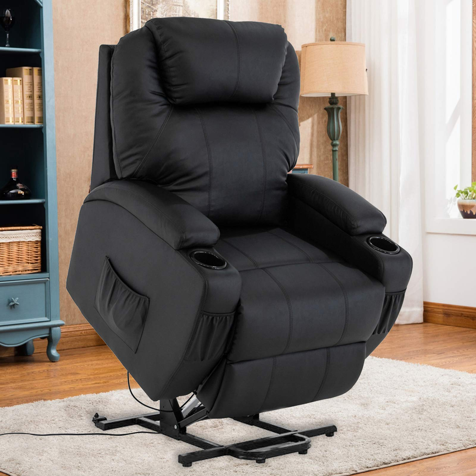 Mecor Power Lift Recliner Lift Chair for Elderly Bonded Leather Electric Lifting Chair with Remote Control/Cup Holders/Reinforced Heavy Duty Reclining Mechanism for Living Room (Black) by mecor