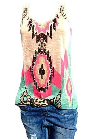 4634baea1aac6 Damen Top Sommer ärmellos Tanktop Tunika T-Shirt Bluse Oversize Bunt  Pastell Beige (36