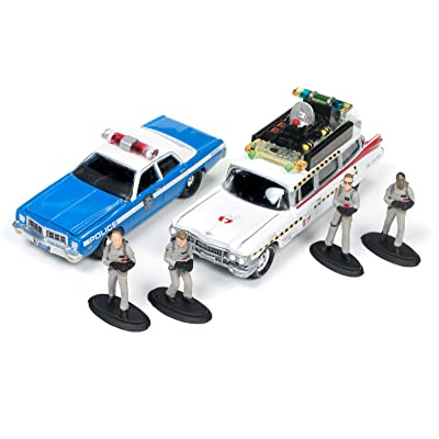 Johnny Lightning JLDR001-GH ECTO 1A 1959 Cadillac Ambulance and 1977 Dodge Monaco New York City Police with Figurines from Ghostbusters 1 Movie 1/64 Diecast Model Cars: Toys & Games