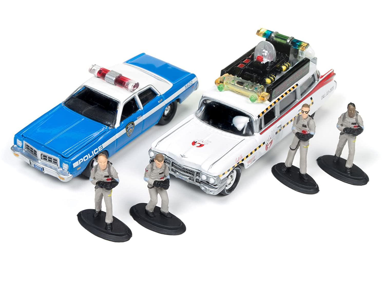 Johnny Lightning JLDR001 GH ECTO 1A 1959 Cadillac Ambulance and 1977 Dodge Monaco New York City Police with Figurines from Ghostbusters 1 Movie 1 64 Diecast Model Cars