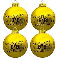 Borussia Dortmund BVB Christbaumkugeln/Weihnachtskugeln (4er Set)