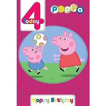 Peppa Pig Edad 4 tarjeta de cumpleaños: Amazon.es: Juguetes ...