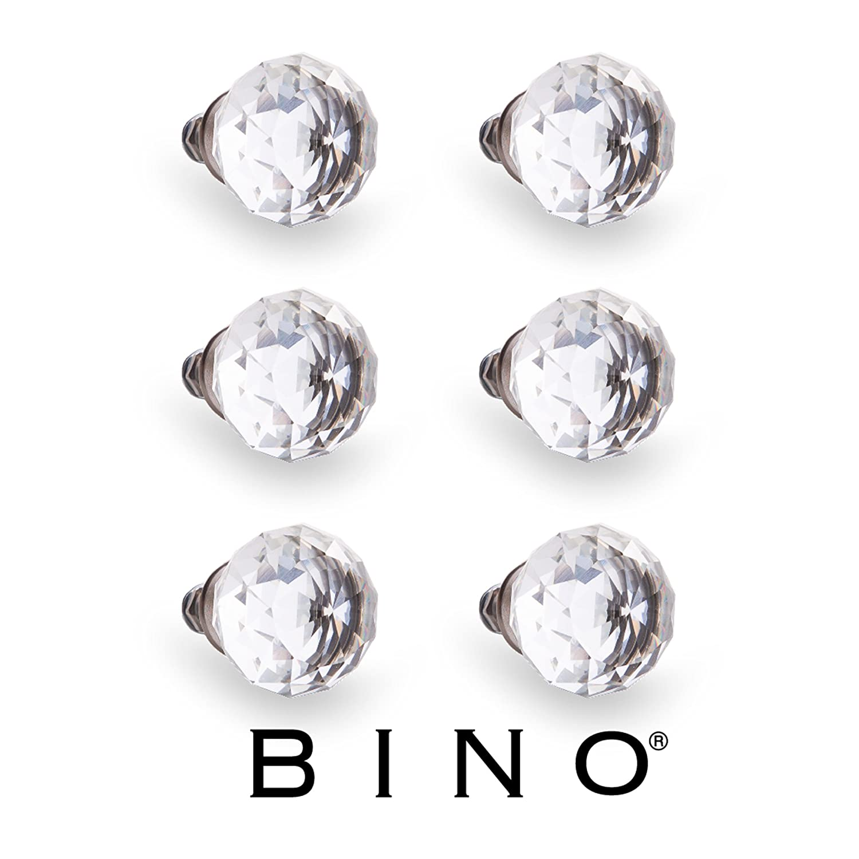 "BINO 6-Pack Crystal Drawer Knobs - 1.25"" Diameter (32mm), Satin Nickel - Dresser Knobs for Dresser Drawers Crystal Knobs and Pulls Handles"