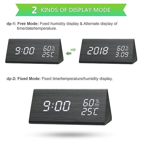 SHENGMI Reloj de Alarma Digital, Modo de Tiempo Dual (12/24), Tres Conjuntos de alarmas, Pantalla LED de Fecha, Brillo de 3 Niveles, Temperatura y Humedad ...