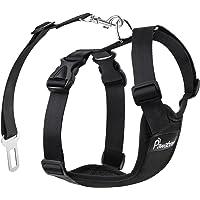 Pawaboo Dog Safety Vest Harness, Pet Dog Adjustable Car Safety Mesh Harness Travel Strap Vest with Car Seat Belt Lead Clip, Large Size, BLACK