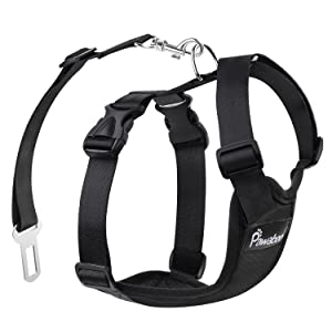 PAWABOO Dog Safety Vest Harness with Car Seat Belt Clip