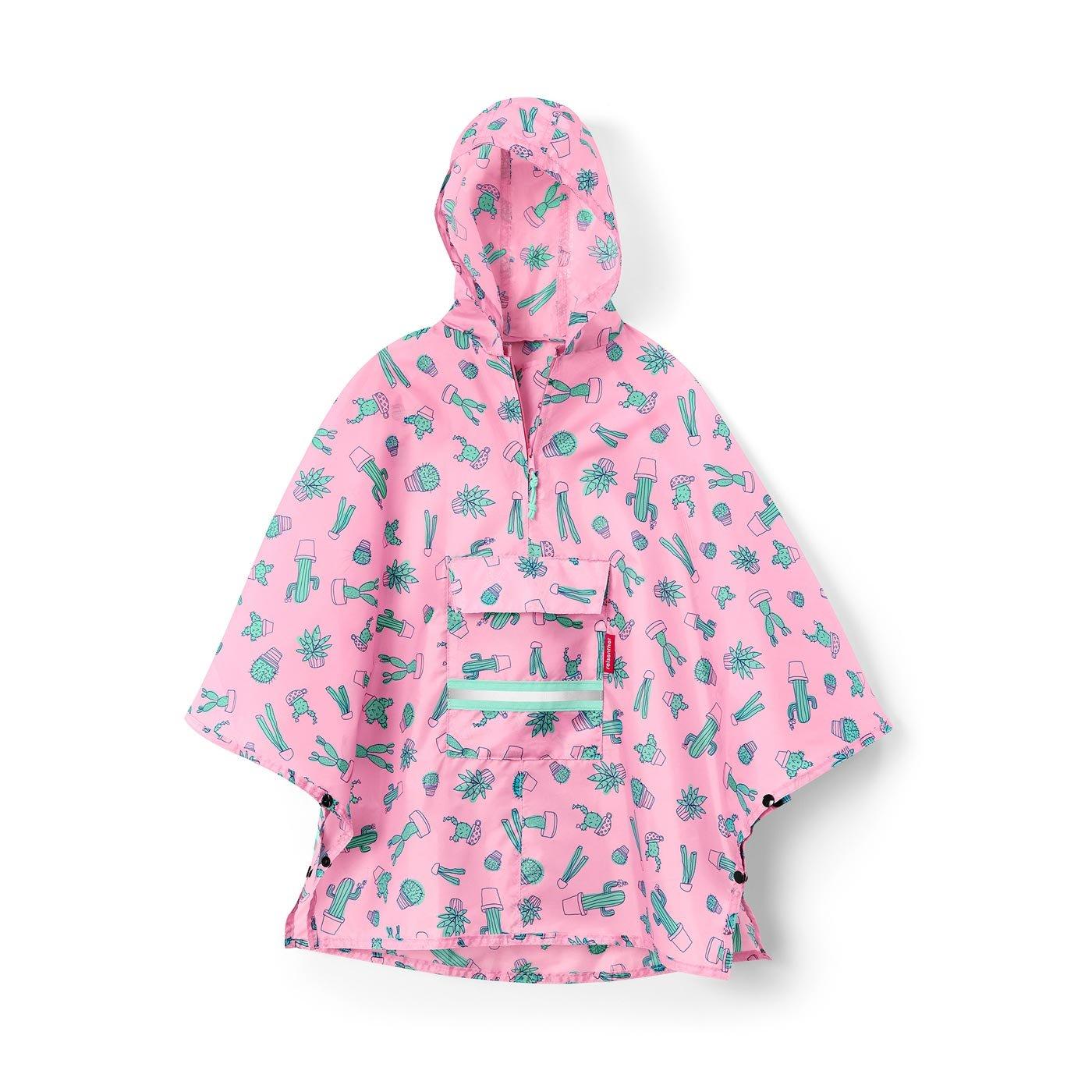 reisenthel Mini Maxi Poncho M Kids, Packable Children's Rain Cloak, Cactus Pink