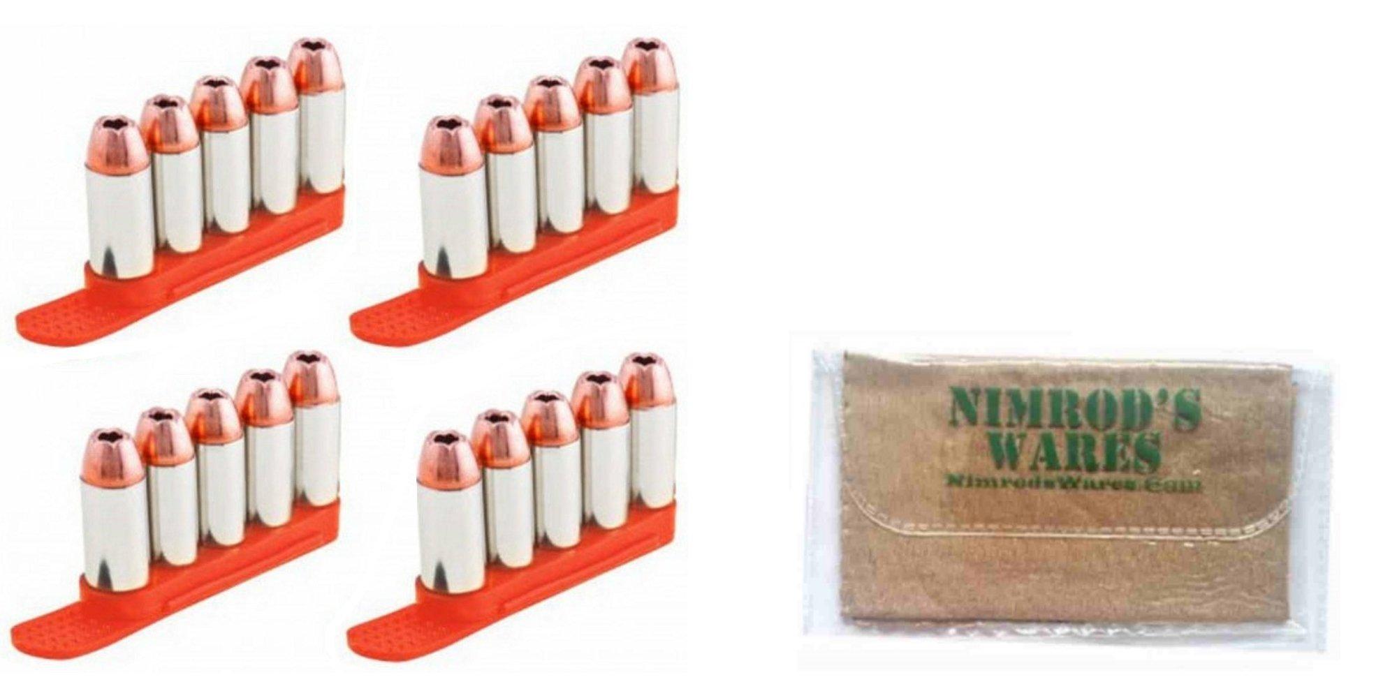 TUFF 7002OR5357 QuickStrips 5Rd .357 .38 .40S&W 6.8mm ORANGE 4Pk Reloader + Nimrod's Wares Microfiber Cloth