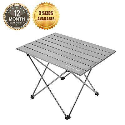 Hitorhike Camping Tables with Aluminum Table Top Ultralight Camp Table with Carry Bag for Indoor, Outdoor, Backpacking, BBQ, Beach, Hiking, Travel, Fishing. (Frost Gray, Small): Kitchen & Dining [5Bkhe0908347]