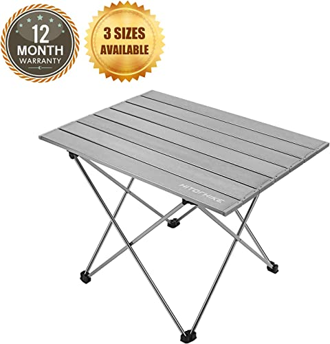 Hitorhike Camping Tables with Aluminum Table Top Ultralight Camp Table with Carry Bag for Indoor, Outdoor, Backpacking, BBQ, Beach, Hiking, Travel, Fishing