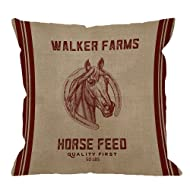 HGOD DESIGNS Decorative Throw Pillow Case Cover Walker Farms Horse Feed Sack Burlap Pillow cases Cotton Linen Outdoor Indoor Square Cushion Covers For Home Sofa couch 18x18 inch Red Brown