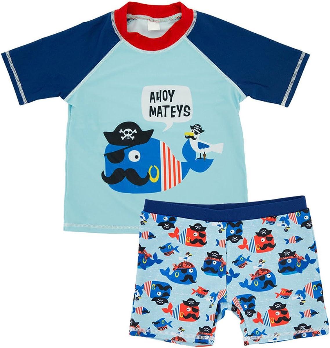 bilison Baby Toddler Boy Swimsuit Kid Rash Guard Swimwear with Swim Hat