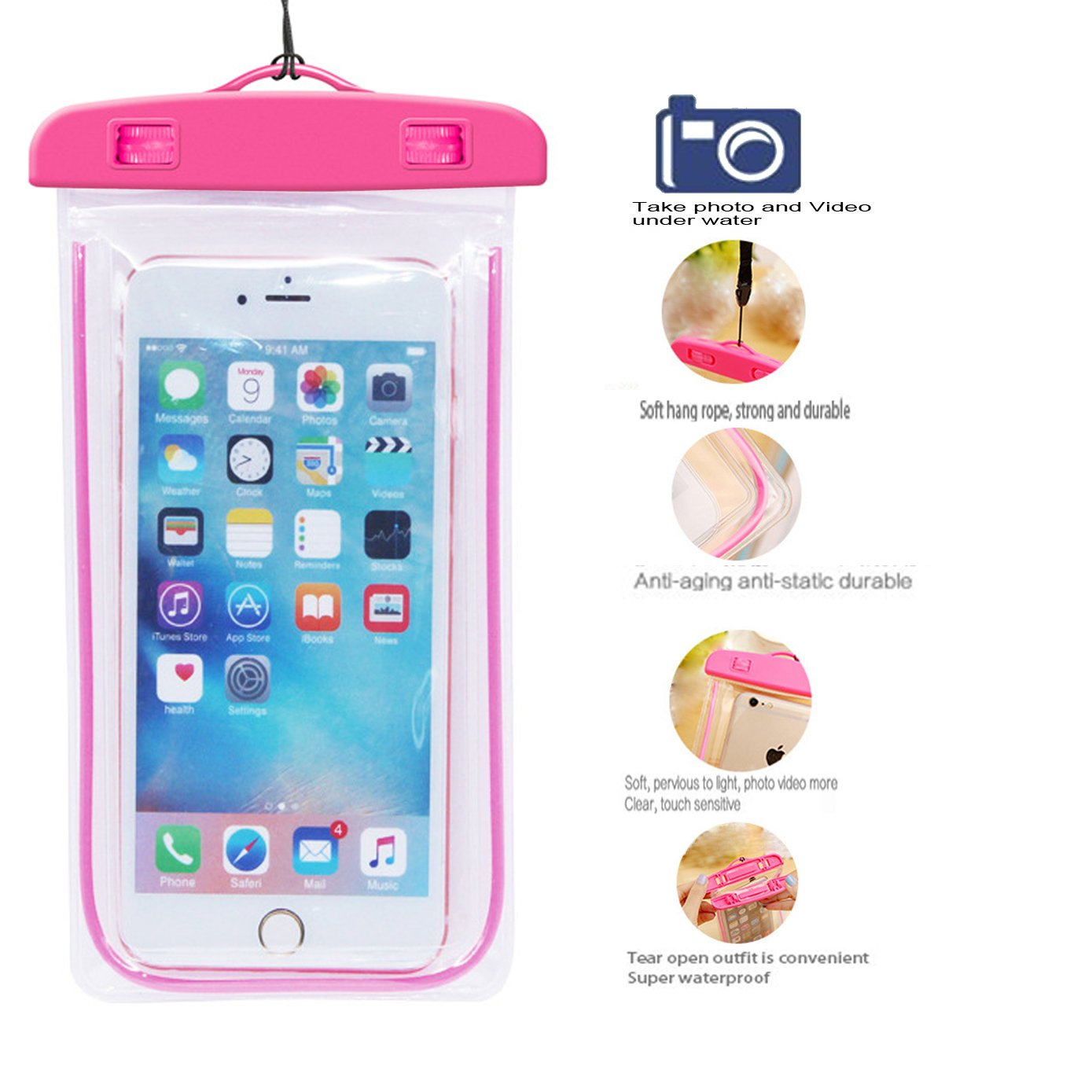 [2Pack Blue+2Pack pink] Universal Waterproof Phone Case Dry Bag CaseHQ for iPhone 7,7 plus,8,8 plus,6/6s/6plus/6splus Samsung Galaxy s5/s6,s7,s8 plus etc. Waterproof for Cell Phone up to 5.8 inches by CaseHQ (Image #2)