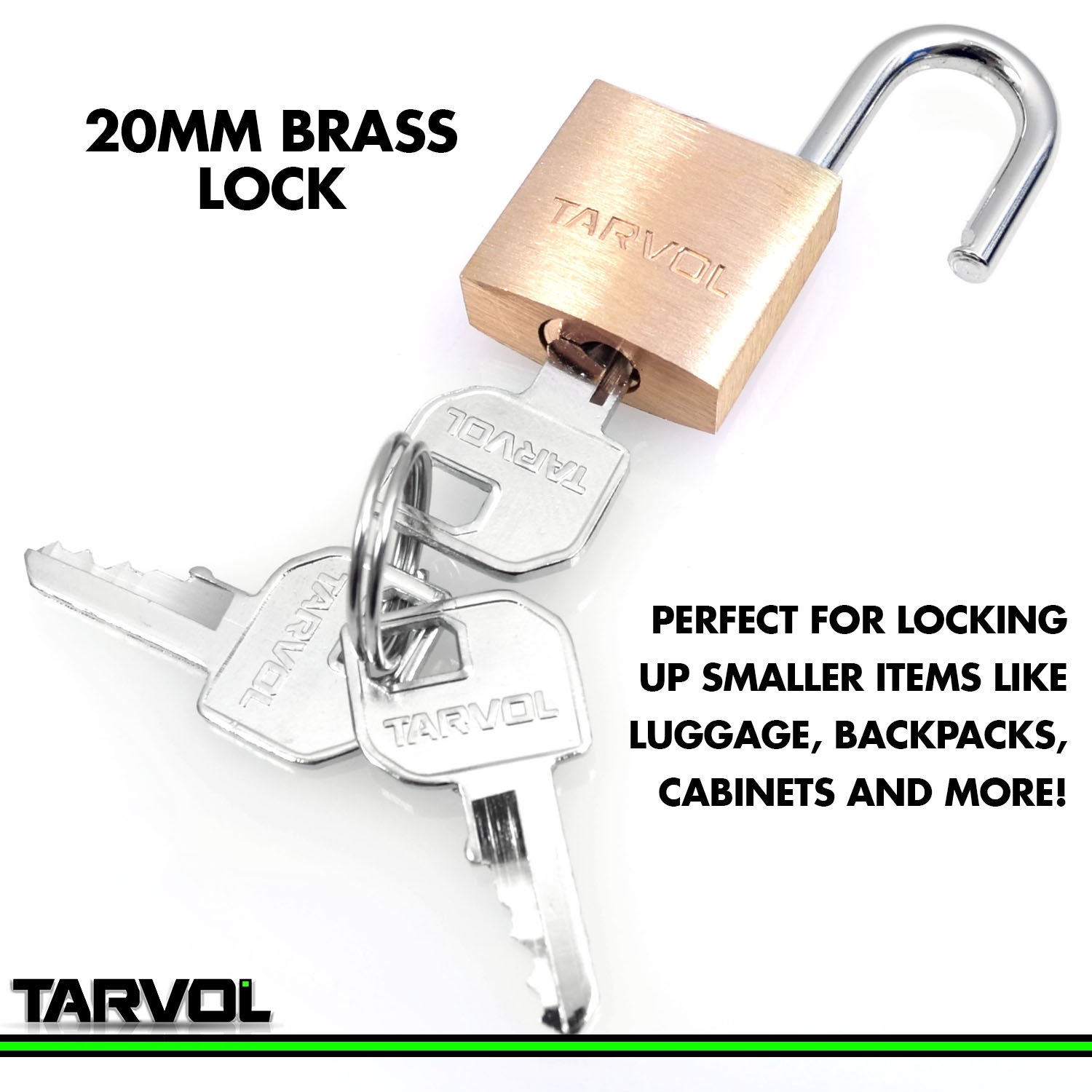 20mm Heavy Duty Brass Padlock Security Lock Suitcase Rucksack with 3 Keys