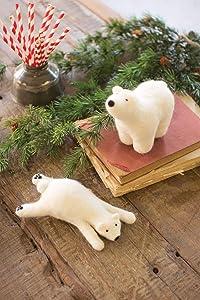 Kalalou Set of Two Felt Polar Bears
