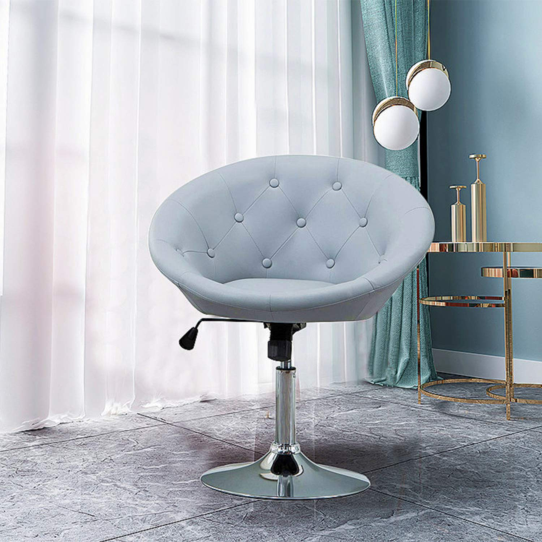 HEYNEMO Ground Swivel Chair, PU Leather Adjustable Tilt Lounge Chair, Luxury Contemporary Round-Back Swivel Chair, Grey by HEYNEMO