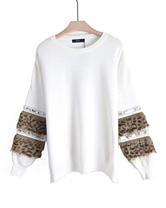 51c7095c199 CY BOUTIQUE Soft leopard look faux fur and sequin embellished sleeves jumper  top black white  Amazon.co.uk  Clothing