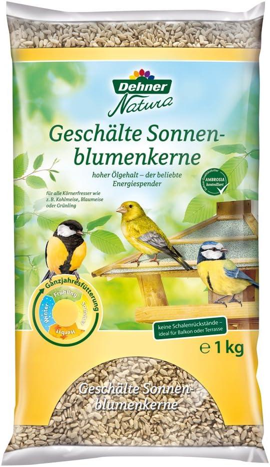Dehner Natura - Comida para pájaros Silvestres, Semillas de Girasol peladas