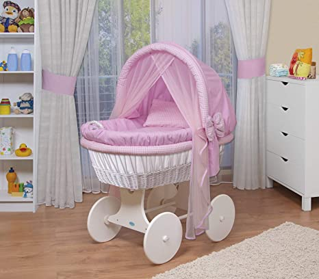 WALDIN Cuna Mois/és carretilla portabeb/és XXL 44 colores a elegir,Madera//ruedas lacado en blanco,color textil blanco