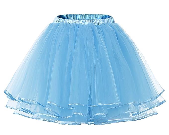 Facent Mujer Adultos Cortas Tutu Falda Tul Enaguas para Disfraz Halloween Azul