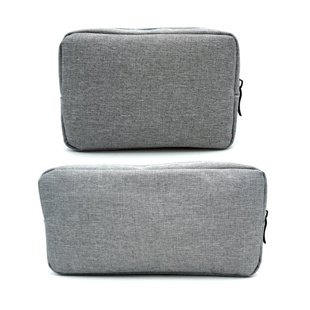 ERCRYSTO Universal Electronics/Accessories Soft Carrying Case Bag, Durable & Light-Weight,Suitable for Out-Going, Business, Travel and Cosmetics Kit (Small+Big-Gray)