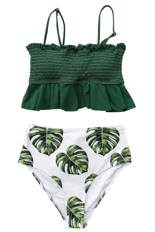 700aca56ca Amazon.com: CUPSHE Women's Smocked Green and Monstera Ruffled High Waisted  Bikini: Clothing