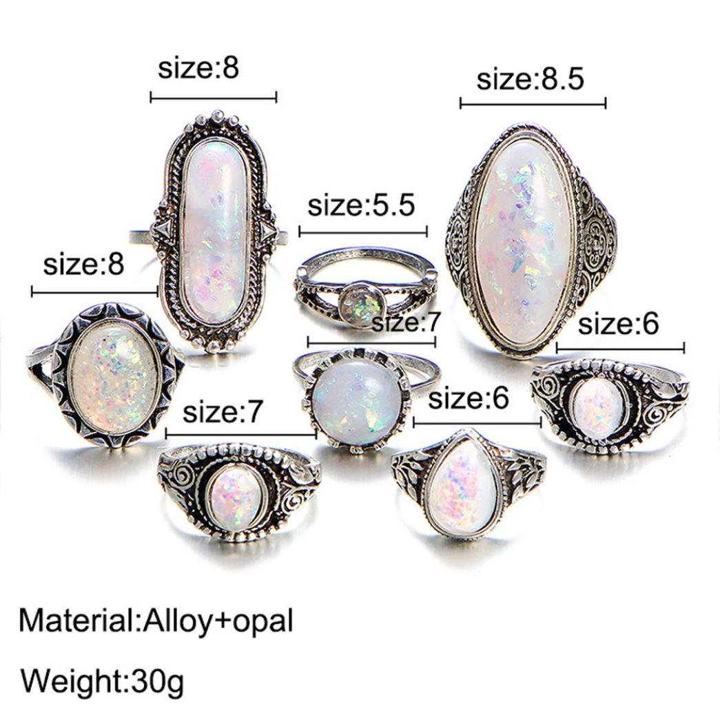 SMALLE◕‿◕ Clearance,8PC Boho Jewelry Silver Natural Gemstone Marquise Moonstone Personalized Ring by SMALLE◕‿◕ (Image #3)