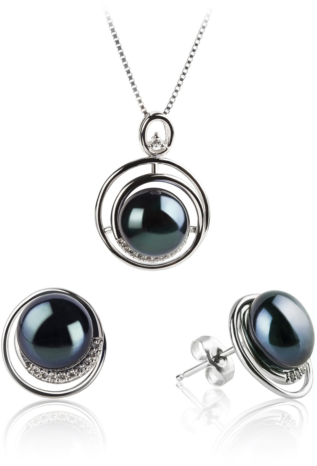 PearlsOnly - Kelly Black 9-10mm AA Quality Freshwater 925 Sterling Silver Cultured Pearl Set