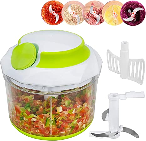 Procesador de alimentos manual Para Picar Frutas, Verduras, Nueces,Hierbas, Cebollas Para Salsa, Pesto - Picadora de mano/Licuadora/Cortador de comida: Amazon.es: Hogar
