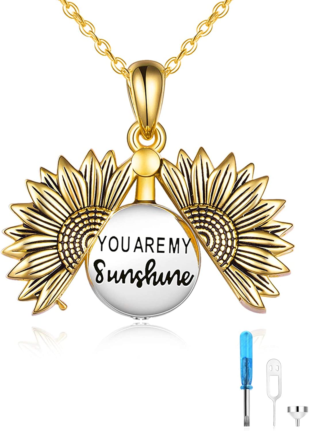 ONEFINITY Sterling Silver Sunflower Urn Necklace for Ashes You are My Sunshine Pendant Cremation Jewelry for Ashes of Loved Ones Keepsake