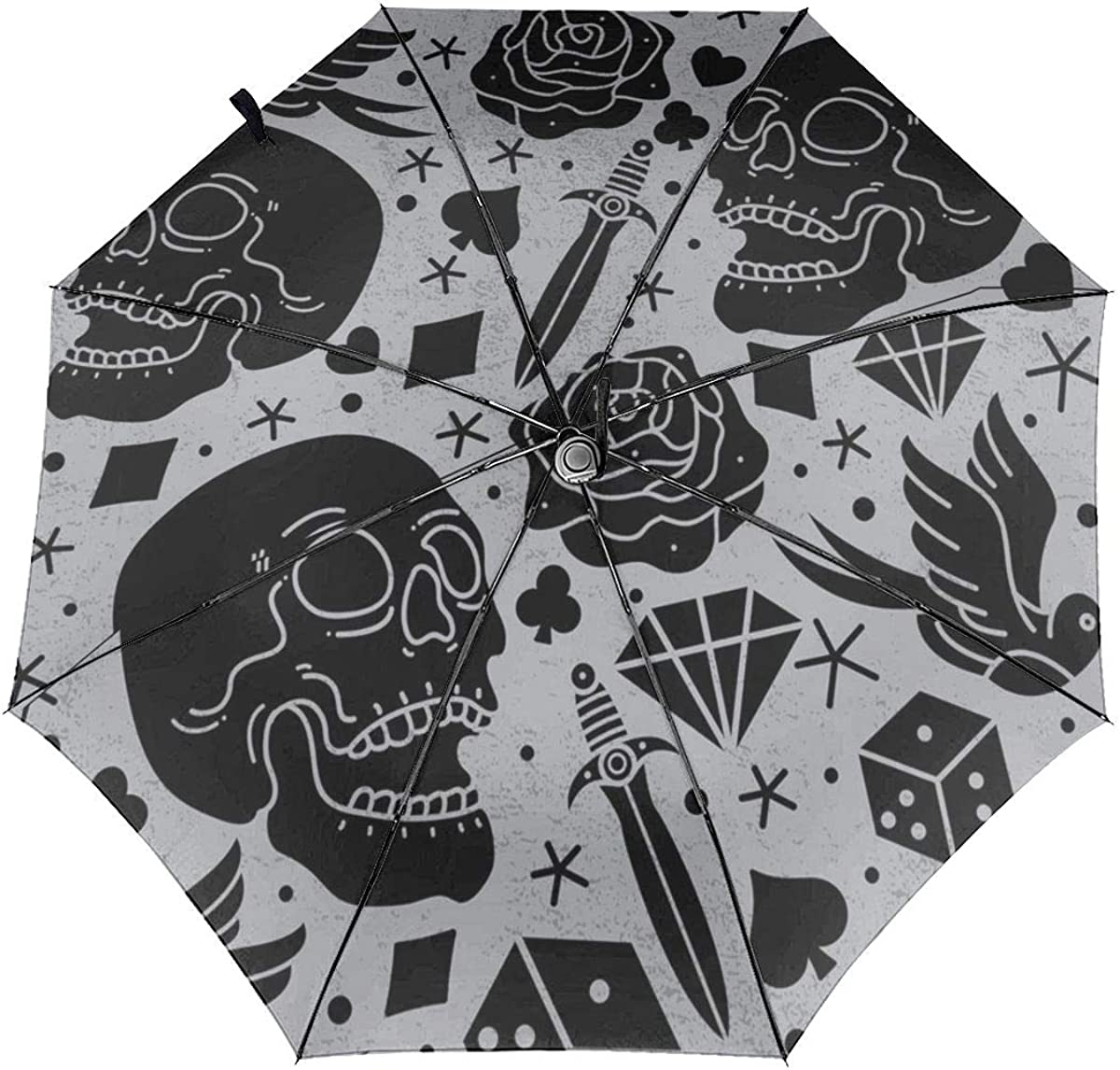 Pattern Horror Tattoo Vector Image Compact Travel Umbrella Windproof Reinforced Canopy 8 Ribs Umbrella Auto Open And Close Button Personalized