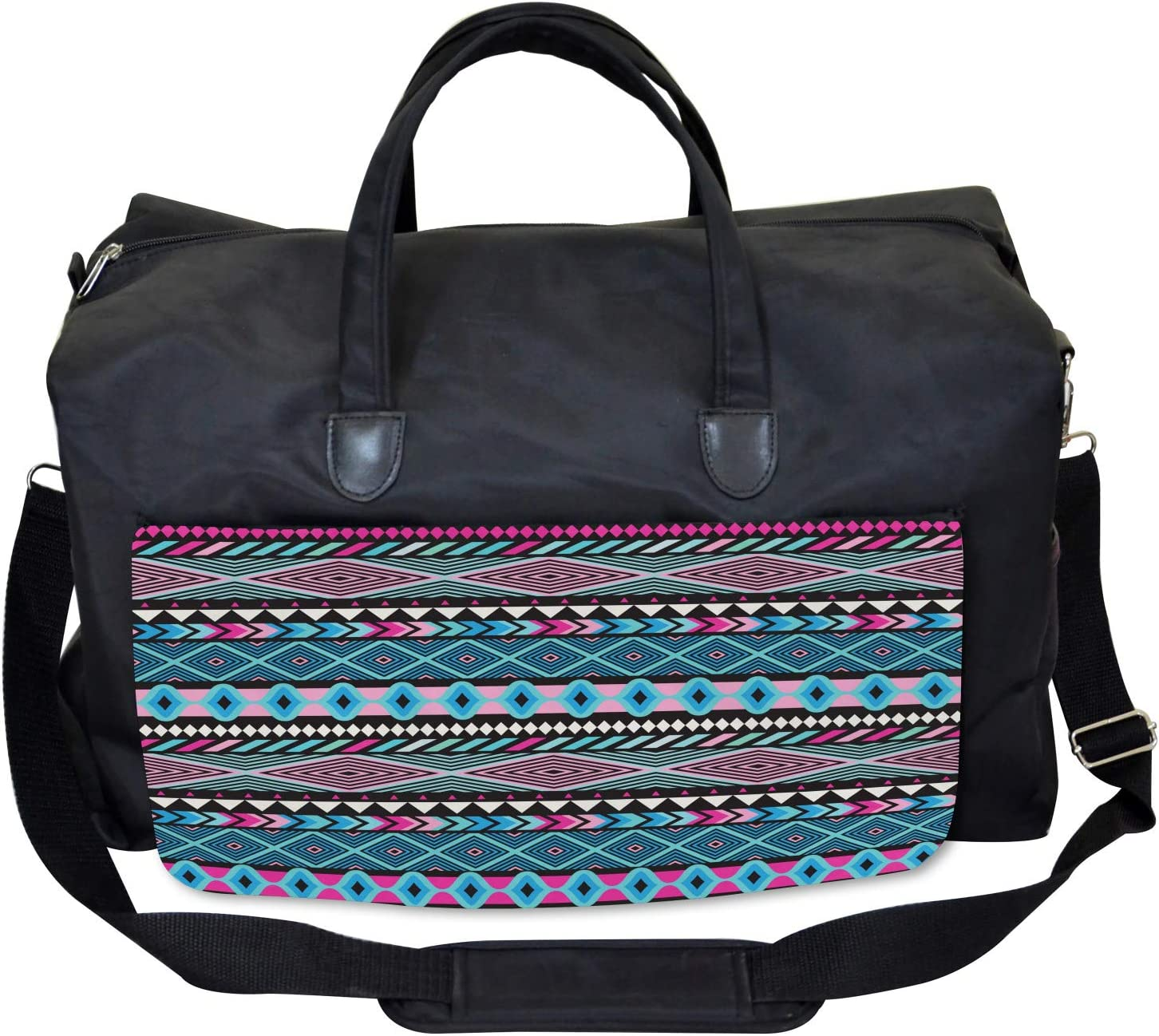 Ambesonne Ethnic Gym Bag Bohem Vintage Shapes Large Weekender Carry-on