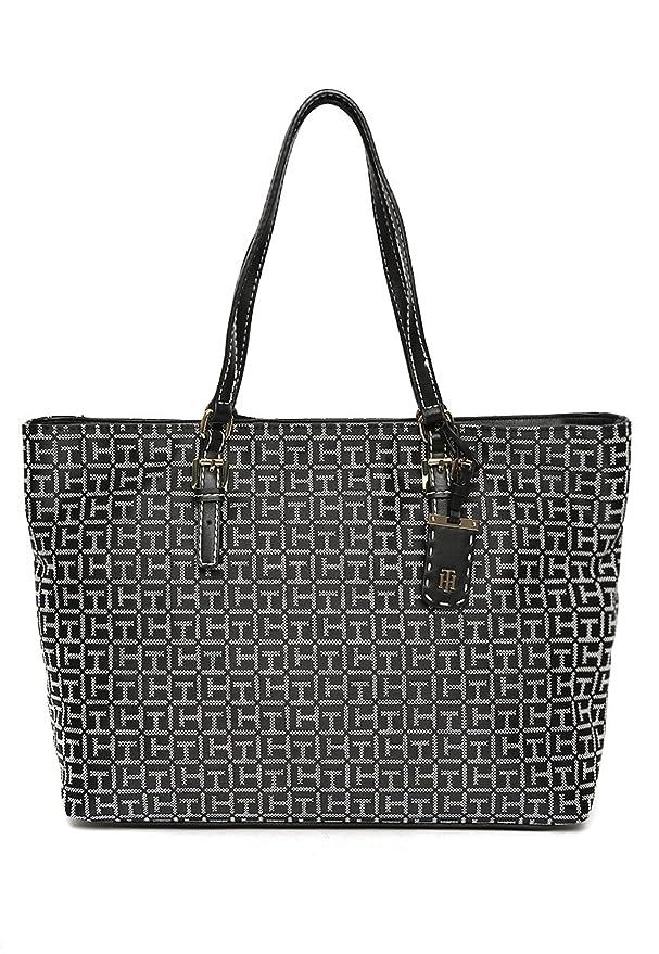 5bc3cbb731cae Tommy Hilfiger Women s Julia Signature Jacquard Tote Black White Handbag   Amazon.in  Shoes   Handbags