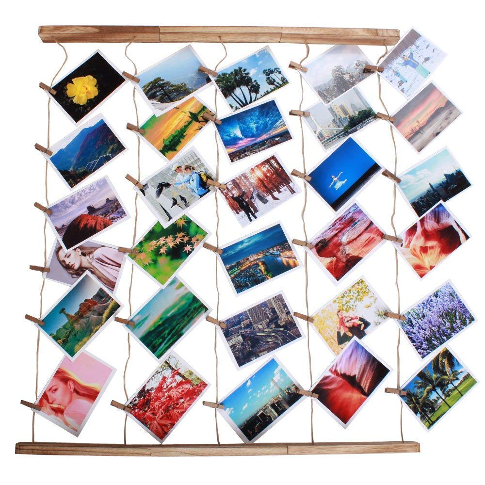 Wood Picture Photo Frame Wall Decor 26×29 inch 30 Clips Ajustable Twines Artworks Prints Multi Pictures Organizer Hanging Display Frames by DANAHENG (Image #2)