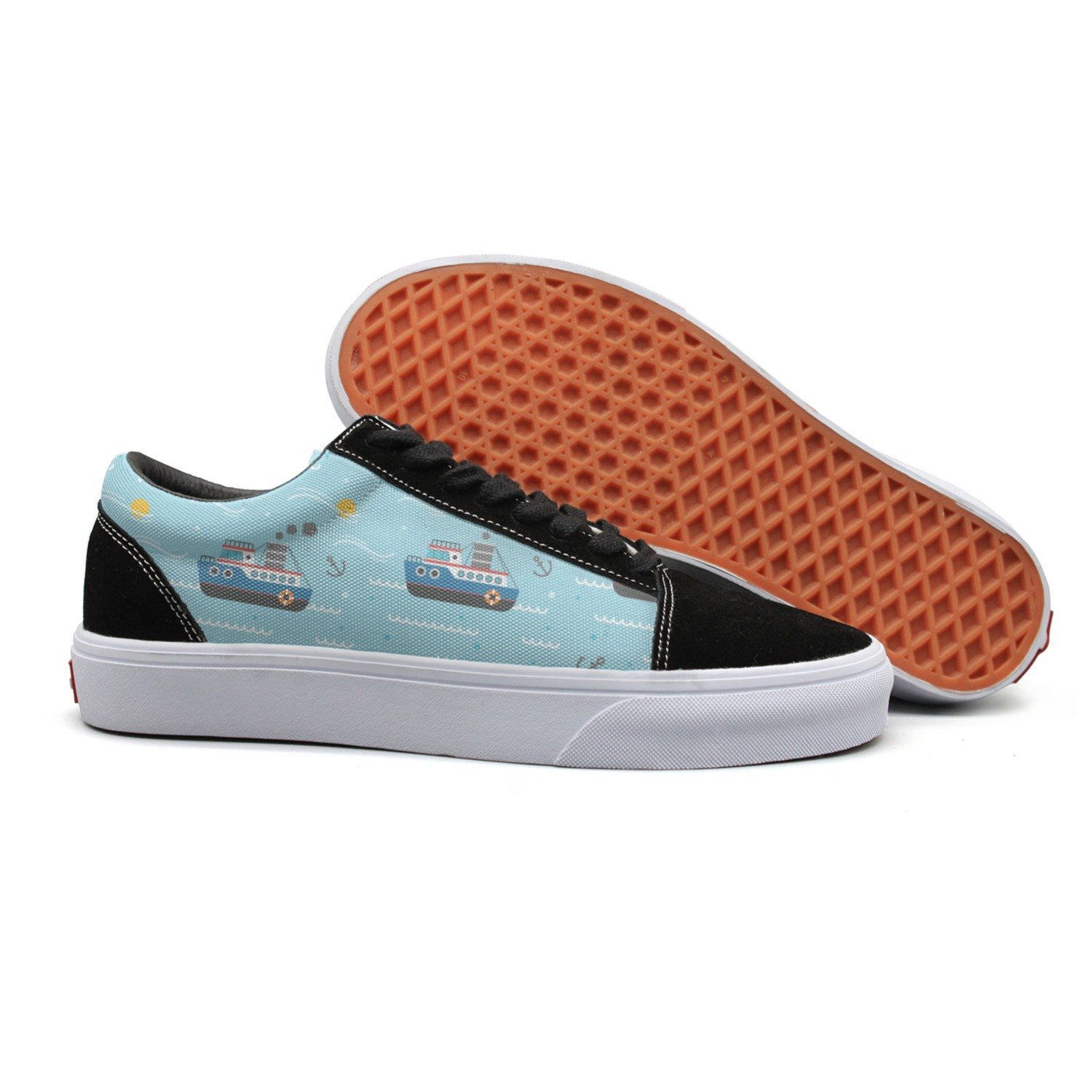 VCERTHDF Print Trendy Nautical Boat Anchor Wave-01 Low Top Canvas Sneakers
