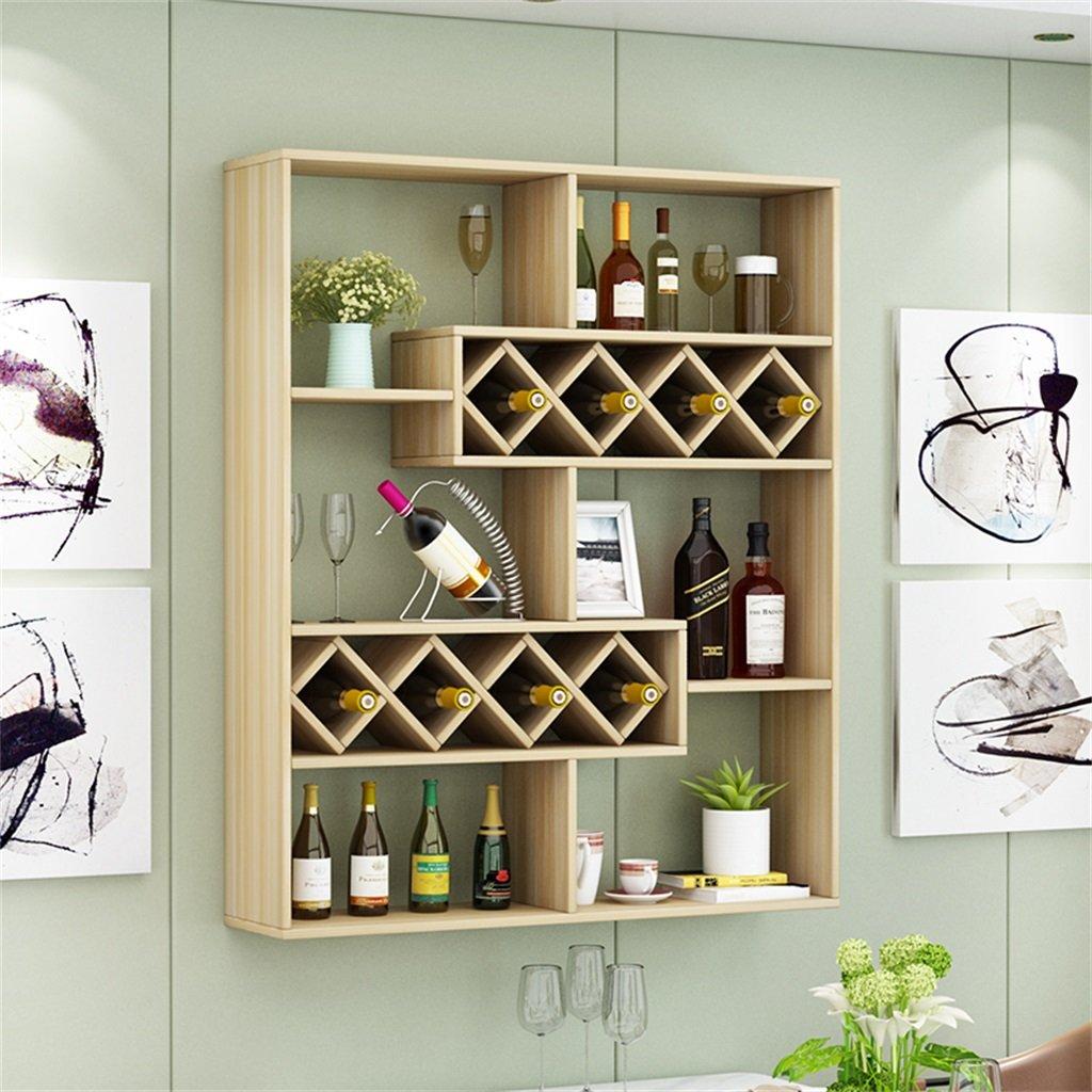 ALUS- Simple Home Restaurant Wall Wine Rack Living Room Wall Wine Cooler Hotel Bar Hanging Red Wine Rack Word Wine Grid ( Color : Light walnut )