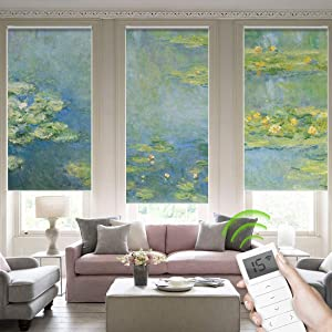 Yoolax Blackout Roller Shade Motorized, Window Blinds Customized Size and Picture, Remote Control Automated Wireless Rechargeable Electric Fabric Shades for Smart Home (Water Lilies)