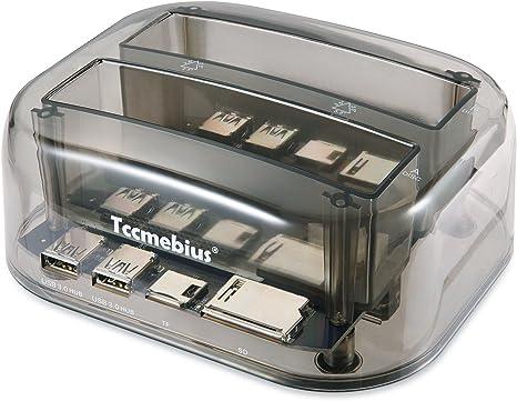 Tccmebius Estación de Acoplamiento del Disco Duro, TCC-S865-DE USB 3.0 Doble Ranuras Caja Externa de HDD con Lector de Tarjetas y 2 Puertos Hub USB 3.0, para 2.5