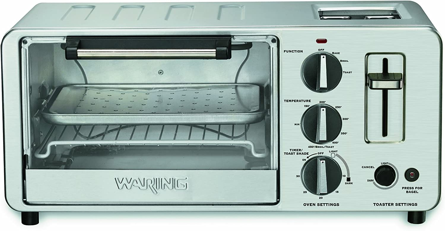 Amazon Com Waring Wto150 4 Slice Toaster Oven With Built In 2 Slice Toaster Kitchen Dining