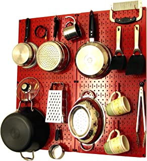 product image for Wall Control Kitchen Pegboard Organizer Pots and Pans Pegboard Pack Storage and Organization Kit with Red Pegboard and Red Accessories