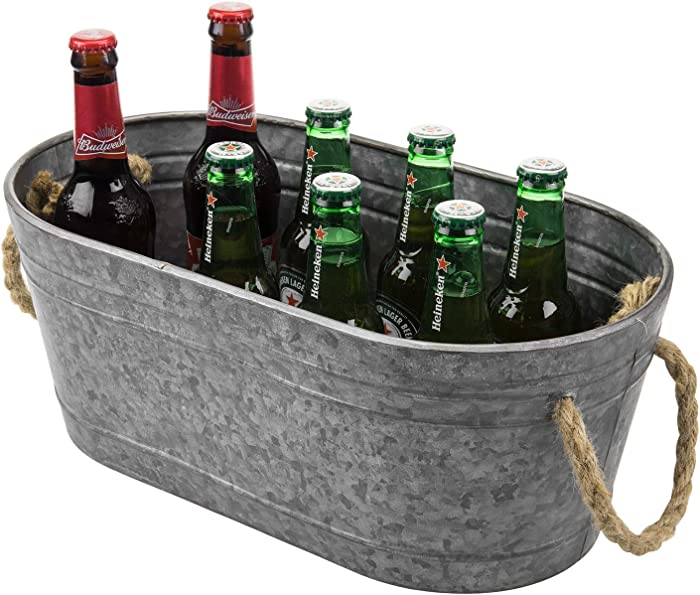 MyGift Rustic Galvanized Silver Metal Small Tabletop Beer Server Beverage Bucket Tub with Rope Handles