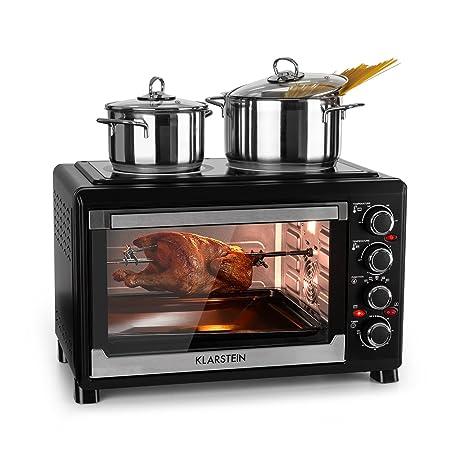 Klarstein Masterchef 38 - Mini horno , 1600 W , Parrilla con función de rostizador , Volumen 38 L , 2 placas de calentamiento 3200 W , 0-500 ° C , ...