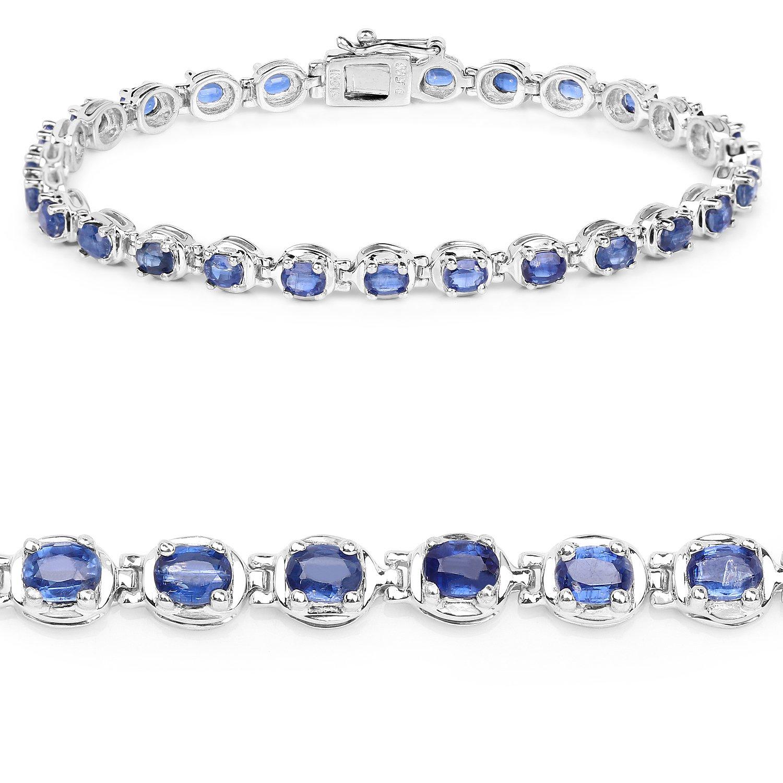 6.32 Carat Genuine Kyanite Solid .925 Sterling Silver Bracelet
