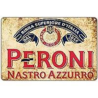 """Peroni Nastro Azzurro Beer 1846 Vintage Wall Décor Art Metal Bar Pub Italia Brewery Aluminum 12""""x18"""" Sign"""