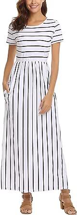 SimpleFun Womens Summer Casual Short Sleeve Striped Long Dress Pleated Loose Maxi Dress Pockets