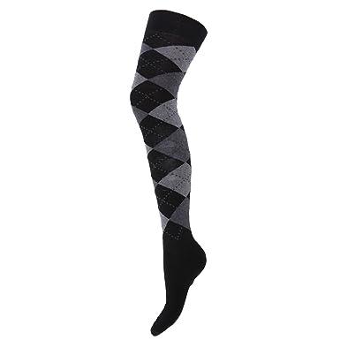 Calcetines largos por encima de la rodilla de algodón a rombos de gran calidad para mujer