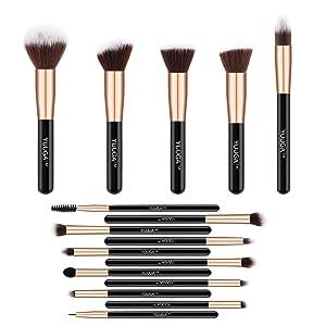 Makeup Brush Set -YUUGA 16Pcs Premium Synthetic Foundation Brush Blending Face Powder Blush Concealers Eye Shadows Make Up Brushes Kit with Pu Leather Bag (Rose Gold 16pcs)